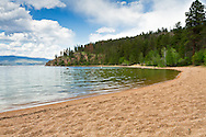 A spring day at Otter Bay Beach at Okanagan Lake in Ellison Provincial Park in Vernon, British Columbia, Canada