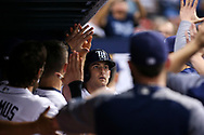 May 9, 2017 - St. Petersburg, Florida, U.S. - WILL VRAGOVIC   |   Times.Tampa Bay Rays second baseman Brad Miller (13) in the dugout after his solo home run in the sixth inning of the game between the Kansas City Royals and the Tampa Bay Rays at Tropicana Field in St. Petersburg, Fla. on Tuesday, May 9, 2017. (Credit Image: © Will Vragovic/Tampa Bay Times via ZUMA Wire)
