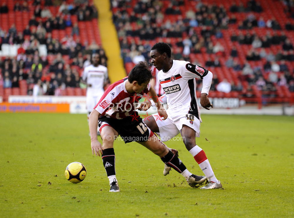 SHEFFIELD, ENGLAND - Saturday, January 24, 2009: Sheffield United's Sun Jihai in action against Charlton Athletic during the FA Cup 4th Round match against Charlton Athletic at Bramall Lane. (Mandatory credit: David Rawcliffe/Propaganda)