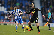 Bolton Wanderers midfielder, Josh Vela (6) and Brighton winger, Jamie Murphy (15) during the Sky Bet Championship match between Brighton and Hove Albion and Bolton Wanderers at the American Express Community Stadium, Brighton and Hove, England on 13 February 2016.