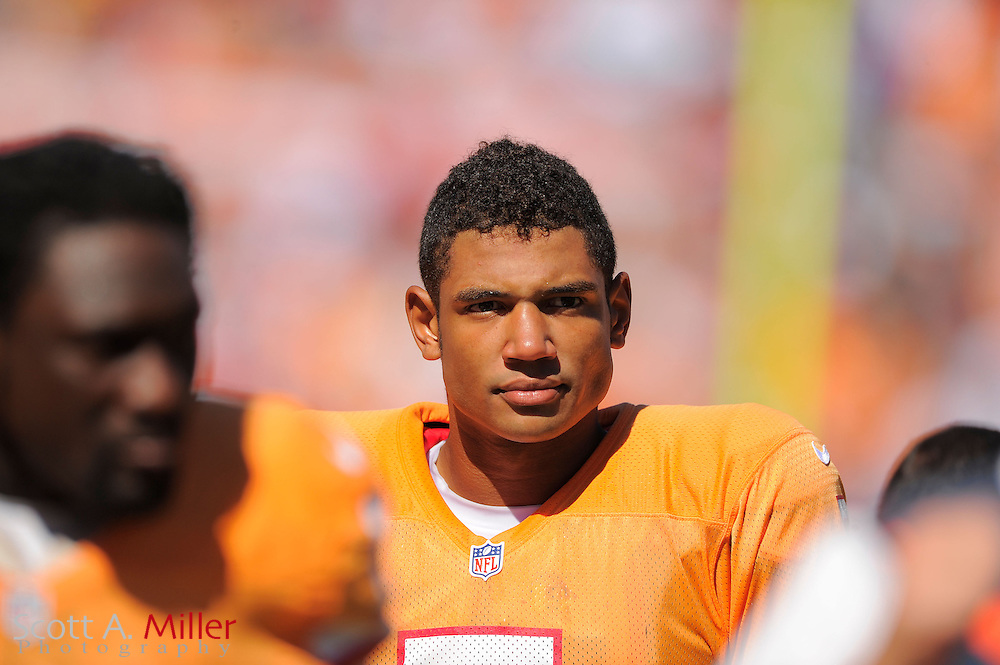 Tampa Bay Buccaneers quarterback Josh Freeman (5) in action against the New Orleans Saints at Raymond James Stadium  on Oct. 14, 2012 in Tampa, Florida. The Saints won 35-28....©2012 Scott A. Miller...