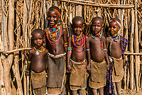 Arbore tribe children, Omo Valley, Ethiopia.