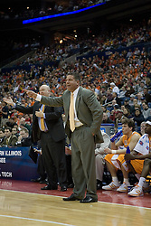 Tennessee Volunteers Head Coach Bruce Pearl disputes a call by the officials.  The #4 seed Virginia Cavaliers were defeated by the #5 seed Tennessee Volunteers 77-74 in the second round of the Men's NCAA Tournament in Columbus, OH on March 18, 2007.