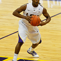 January 2, 2012; Baton Rouge, LA; LSU Tigers guard Anthony Hickey (1) against the Virginia Cavaliers during the second half of a game at the Pete Maravich Assembly Center. Virginia defeated LSU 57-52.  Mandatory Credit: Derick E. Hingle-US PRESSWIRE