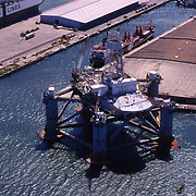 Aerial view of Oil Rig off the Galveston Texas's piers.
