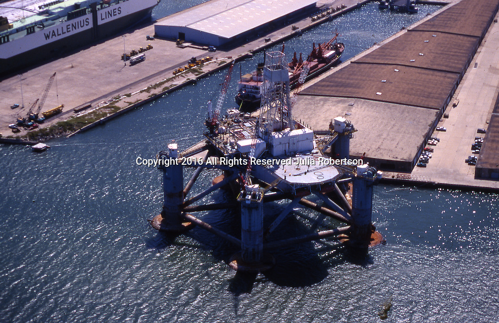 Aerial view of Oil Drilling Rig in Galveston Texas