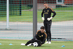 June 26, 2018 - Dedovsk, RUSSIA - Belgium's goalkeeper Thibaut Courtois and Belgium's goalkeeper Koen Casteels pictured during a training session of Belgian national soccer team the Red Devils in Dedovsk, near Moscow, Russia, Tuesday 26 June 2018. The team is preparing for their third game at the FIFA World Cup 2018. BELGA PHOTO BRUNO FAHY (Credit Image: © Bruno Fahy/Belga via ZUMA Press)