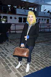 Johnnie Walker Gold Label Reserve Finale Celebration Party aboard the John Walker & Sons Voyager moored at the Prince of Wales Docks, Leith, Edinburgh, Scotland on 14th August 2013.<br /> Picture shows:-Pam Hogg.