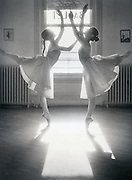BALLET STUDIO - Two young ballet students rehearse in the Fink Ballet Studio,Main St.,Bethlehem,PA. 1980..(Available in limited edition of silver gelation prints-9 3/8 x 11 3/4 inches,image size, 10 1/2x 14 inch print. double weight, semi-gloss paper.) Contact studio for pricing.