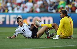 Miroslav KLOSE scores the opening goal for Germany during the 2010 World Cup Soccer match between England and Germany in a group 16 match played at the Freestate Stadium in Bloemfontein South Africa on 27 June 2010.