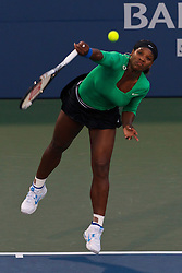 July 30, 2011; Stanford, CA, USA;  Serena Williams (USA) serves the ball against Sabine Lisicki (GER), not pictured, during the semifinals of the Bank of the West Classic women's tennis tournament at the Taube Family Tennis Stadium. Williams defeated Lisicki 6-1, 6-2.