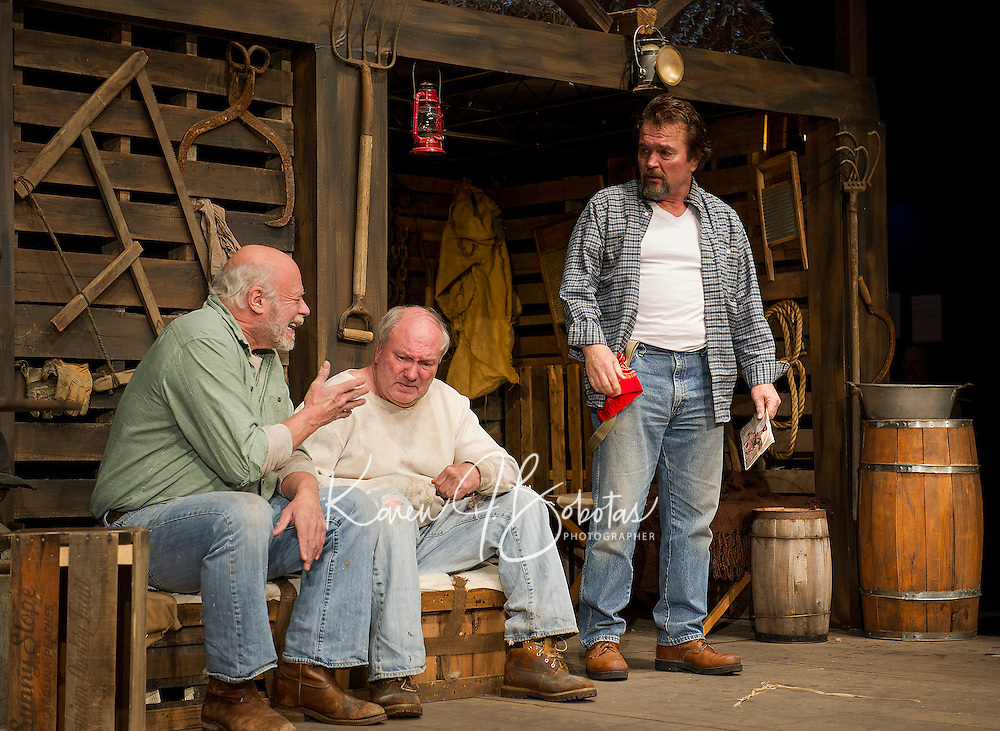 """The Boss (Dand Gardner), Candy (Ray Dudley) and Whit (Jim Rogato) during Tuesday's dress rehearsal for """"Of Mice and Men"""" at the Winnipesaukee Playhouse in Meredith.  (Karen Bobotas/for the Laconia Daily Sun)"""