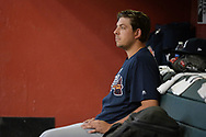 PHOENIX, AZ - JULY 26:  Aaron Blair #36 of the Atlanta Braves sits in the dugout prior to the MLB game against the Arizona Diamondbacks at Chase Field on July 26, 2017 in Phoenix, Arizona.  (Photo by Jennifer Stewart/Getty Images)