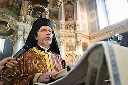 """3 June 2018, Novi Sad, Serbia: On Sunday, participants of the CEC general assembly attended Sunday service in local churches in and around Novi Sad. Here, in the Eastern Orthodox Cathedral Church of the Holy Great Martyr George. His Eminence, Metropolitan Cleopas of Sweden and All Scandinavia speaks. The Conference of European Churches General Assembly takes place on 31 May - 6 June 2018, in Novi Sad, Serbia. More than 400 delegates, advisors, stewards, youth, staff, and distinguished guests take part in the 2018 General Assembly and related events. Gathered together under the theme, """"You shall be my witnesses,"""" the assembly forges the path for CEC for the coming five-year period and beyond. Of central concern is the future of Europe in light of economic, political, and social crises and how the churches will live out a vision of witness, justice, and hospitality within this context."""