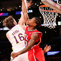 03 November 2013: Los Angeles Lakers power forward Pau Gasol (16) goes for the dunk over Atlanta Hawks small forward Cartier Martin (20) during the Los Angeles Lakers 105-103 victory over the Atlanta Hawks at the Staples Center, Los Angeles, California, USA.