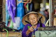 An old vietnamese woman looking at a green leaf, hoi an market, vietnam
