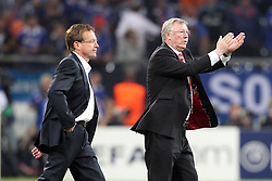 26.04.2011, Veltins Arena, Gelsenkirchen, GER, UEFA CL, Halbfinale Hinspiel, Schalke 04 (GER) vsManchester United (ENG), im Bild:  Ralf Rangnick (Trainer Schalke 04) (L) entaeuscht / entäuscht  daneben Sir Alex Ferguson (Trainer Manchester) (R) jubelt  // during the UEFA CL, Semi Final first leg, Schalke 04 (GER) vs Manchester United (ENG), at the Veltins Arena, Gelsenkirchen, 26/04/2011 EXPA Pictures © 2011, PhotoCredit: EXPA/ nph/  Mueller *** Local Caption ***       ****** out of GER / SWE / CRO  / BEL ******
