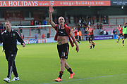 Kevin Ellison of Morecambe man of the match salutes the away fans during the EFL Sky Bet League 2 match between Morecambe and Newport County at the Globe Arena, Morecambe, England on 16 September 2017. Photo by Mick Haynes.
