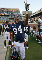 Virginia wide receiver Jared Green (84) celebrates UVA's victory over GT.  The Virginia Cavaliers defeated the #18 ranked Georgia Tech Yellow Jackets 24-17 in NCAA Division 1 Football at Bobby Dodd Stadium on the campus of Georgia Tech in Atlanta, GA on October 25, 2008.