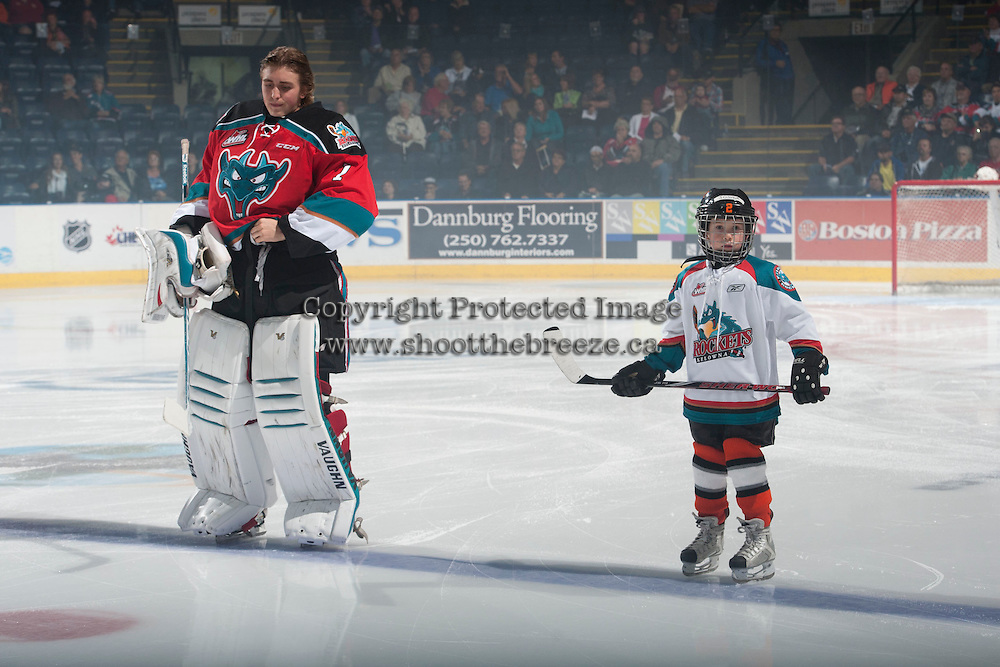 KELOWNA, CANADA - OCTOBER 7: Jackson Whistle #1 of Kelowna Rockets lines up with the Pepsi Save-On Foods player of the game against the Swift Current Broncos on October 7, 2014 at Prospera Place in Kelowna, British Columbia, Canada.  (Photo by Marissa Baecker/Getty Images)  *** Local Caption *** Jackson Whistle; Pepsi Save-On Foods player;