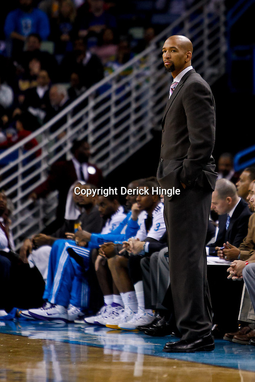December 8, 2010; New Orleans, LA, USA; New Orleans Hornets head coach Monty Williams against the Detroit Pistons during a game at the New Orleans Arena. The Hornets defeated the Pistons 93-74. Mandatory Credit: Derick E. Hingle