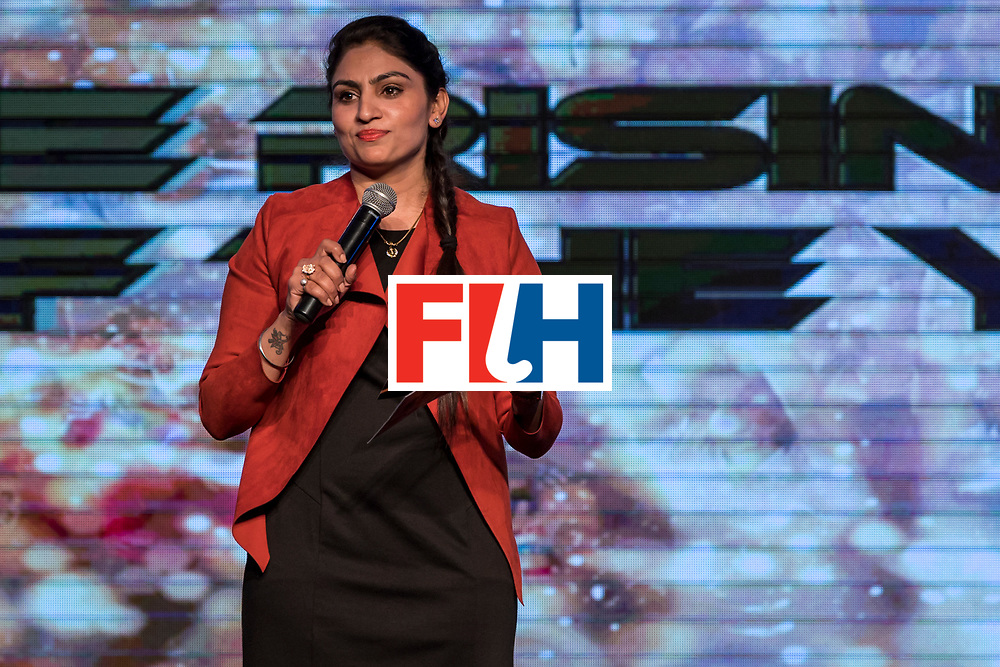 CHANDIGARH, INDIA - FEBRUARY 23: Joydeep Kaur, Hockey India Athlete Representative in the EB speaks during the FIH Hockey Stars Awards 2016 at Lalit Hotel on February 23, 2017 in Chandigarh, India. (Photo by Ali Bharmal/Getty Images for FIH)