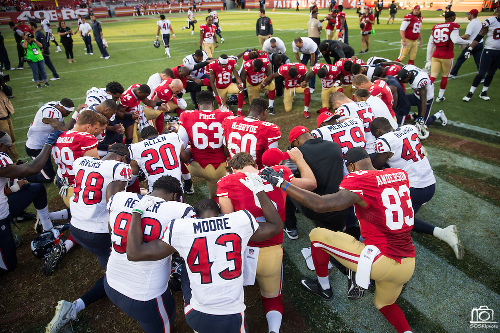 The San Francisco 49ers and Houston Texans pray after a preseason game at Levi's Stadium in Santa Clara, Calif., on August 14, 2016. (Stan Olszewski/Special to S.F. Examiner)