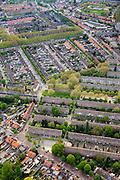 Nederland, Noord-Brabant, Breda, 09-05-2013; Heuvelkwartier, omgeving Mgr. Nolensplein. Naoorlogse stadsuitbreiding, jaren vijftig ('50), Delftse school. Traditioneel opgezet als parochiewijk rond de kerk Onze Lieve Vrouwe (OLV) van Altijddurende Bijstand. Naast veel eengezinswoningen met tuintjes ook portiekflats.<br /> Postwar urban expansion built in the  fifties, Delft School. Traditionally designed as parish area around the church Our Lady<br /> luchtfoto (toeslag op standard tarieven)<br /> aerial photo (additional fee required)<br /> copyright foto/photo Siebe Swart