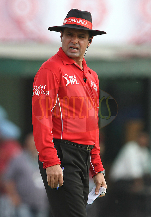Umpire Aleem Dar during match 33 of the the Indian Premier League (IPL) 2012  between The Kings X1 Punjab and The Mumbai Indians held at the Punjab Cricket Association Stadium, Mohali on the 25th April 2012..Photo by Shaun Roy/IPL/SPORTZPICS