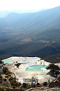 The panoramic view from the pools of Hierve el Agua, a remote area in the mountains of Oaxaca.