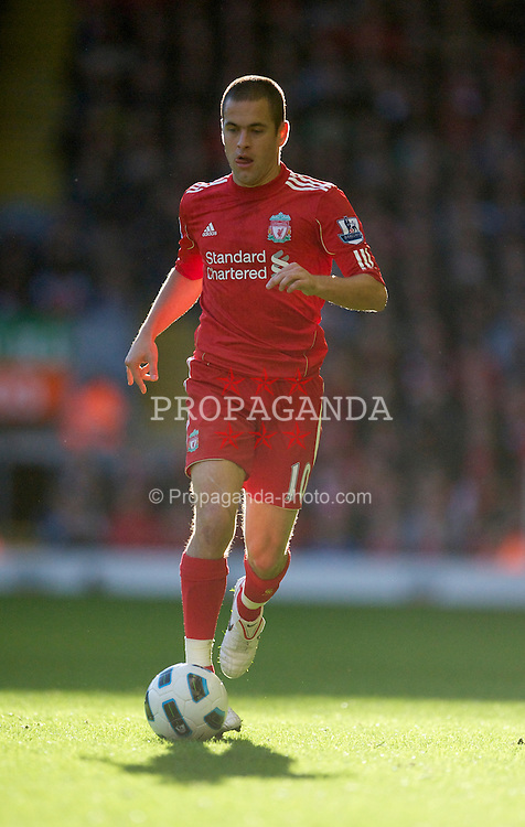 LIVERPOOL, ENGLAND - Sunday, October 24, 2010: Liverpool's Joe Cole in action against Blackburn Rovers during the Premiership match at Anfield. (Photo by David Rawcliffe/Propaganda)