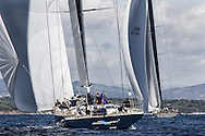 FRANCE, St Tropez. 1st October 2013. Voiles de St Tropez. Magic Carpet 3 (Wally Centro) GBR 1001R, follows Hamilton (Wally Centro).