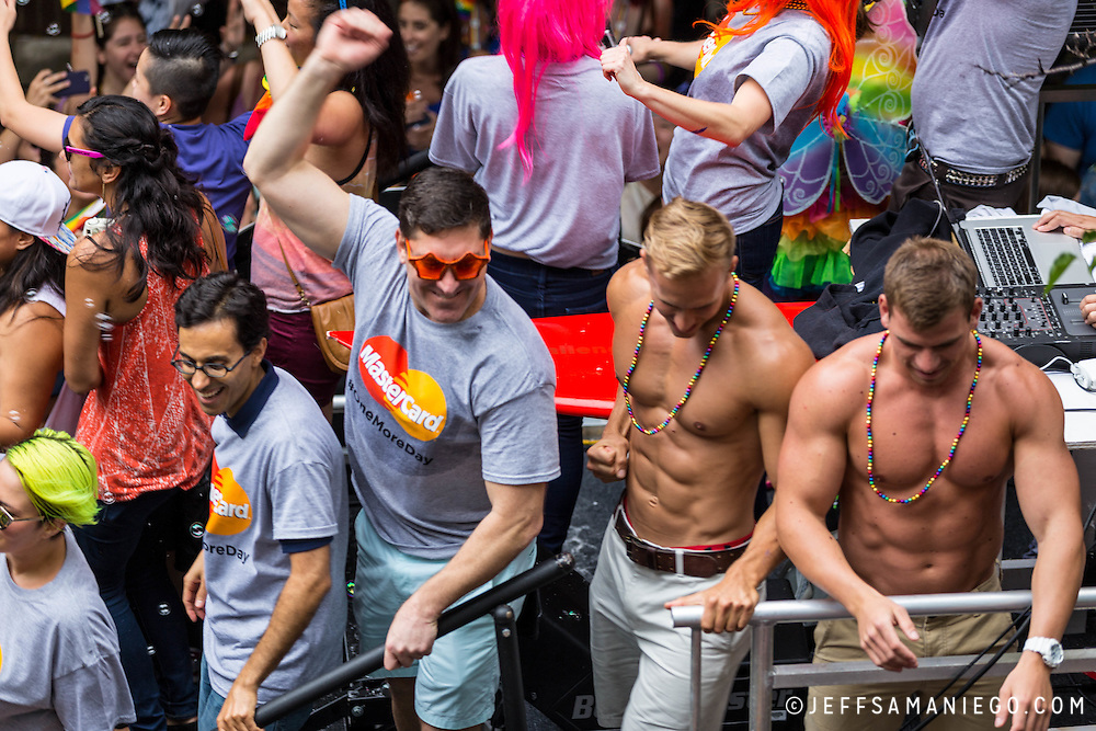New York LGBT Pride Parade 2015, corner of Christopher Street and Gay Street, West Village, Mastercard float