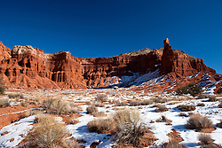 Chimney Rock viewed from Chimney Rock trail in the morning with snow on the ground, Capitol Reef National Park, Utah, United States of America