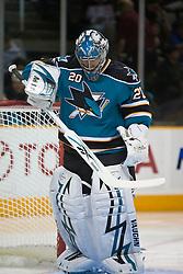 November 25, 2009; San Jose, CA, USA; San Jose Sharks goalie Evgeni Nabokov (20) during the first period against the Chicago Blackhawks at HP Pavilion. Mandatory Credit: Jason O. Watson / US PRESSWIRE