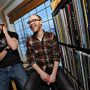 Ian Stewart/Yukon News<br /> Whitehorse's Andrew Stratis, left, and Kyle Cashen started Headless Owl Records to sell limited edition vinyl records.