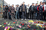 A memorial to victims outside the president's offices, the White House, in Bishkek, Kyrgyzstan, two days after violence killed around 90 people and forced former President Kurmanbek Bakiyev to flee. Apirl 9, 2010.