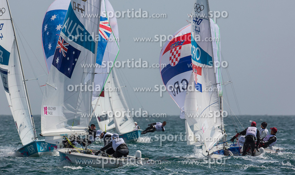 02.08.2012, Bucht von Weymouth, GBR, Olympia 2012, Segeln, im Bild Fantela Sime, Marenic Igor, (CRO, 470 Men), Belcher Mathew, Page Malcolm, (AUS, 470 Men) // during Sailing, at the 2012 Summer Olympics at Bay of Weymouth, United Kingdom on 2012/08/02. EXPA Pictures © 2012, PhotoCredit: EXPA/ Daniel Forster ***** ATTENTION for AUT, CRO, GER, FIN, NOR, NED, POL, SLO and SWE ONLY!