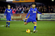 AFC Wimbledon defender George Francomb (7) free kick during the EFL Sky Bet League 1 match between AFC Wimbledon and Coventry City at the Cherry Red Records Stadium, Kingston, England on 14 February 2017. Photo by Matthew Redman.