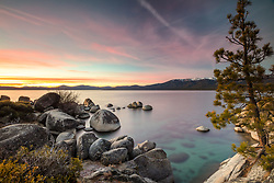 """Sand Harbor Sunset 3"" - Sunset photograph of boulders and the clear waters of Sand Harbor, Lake Tahoe."