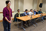 Elizabeth Collins, left, introduces the panel of Muslim students participating in a panel discussion about being Muslim during one of the Difficult Dialog Series nights, at the Baker Center on Thursday, 1/17/08...shot Thursday, 1/17/08.