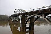 The Edmund Pettus Bridge crosses the Alabama river in Selma on the road to Montgomery. This bridge was the scene of violent confrontations between Selma police and civil rights activists.<br /> <br /> In March 1965 a Civil Rights march was held, led by Rev. Martin Luther King, from Selma Alabama to the state capital of Montgomery to demand the right to vote. Systematic local police violence against the marchers, forced US president Johnson to send in federal troops to protect the demonstrators right to march and eventually vote.
