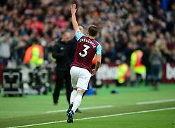 Aaron Cresswell of West Ham United celebrates his freekick. - Mandatory by-line: Alex James/JMP - 29/04/2018 - FOOTBALL - London Stadium - London, England - West Ham United v Manchester City - Premier League