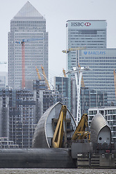 January 3, 2018 - Greenwich, LONDON, UK - London, UK. The Thames Barrier has been closed to protect London from flooding due to high tides and Storm Eleanor. It is the 180th time that the barrier has been required to close to protect London from flooding threat. (Credit Image: © Rob Powell/London News Pictures via ZUMA Wire)