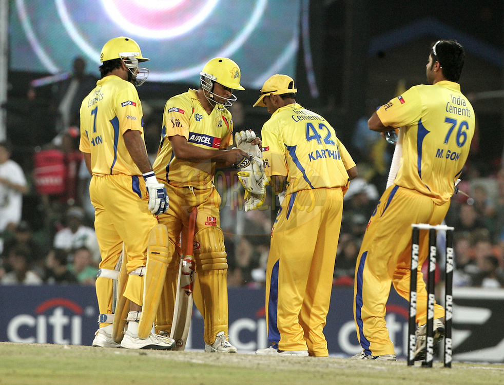 CENTURION, SOUTH AFRICA - 30 April 2009.  during the  IPL Season 2 match between the Rajasthan Royals and the Chennai Superkings held at  in Centurion, South Africa. MS Dhoni,Arun Karthik.