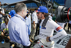 July 8, 2018 - Silverstone, Great Britain - Motorsports: FIA Formula One World Championship 2018, Grand Prix of Great Britain, ..Jean Todt (FIA), #14 Fernando Alonso (ESP, McLaren F1 Team) (Credit Image: © Hoch Zwei via ZUMA Wire)