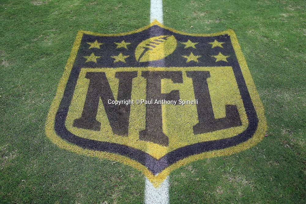 The gold and black NFL shield logo developed in honor of the NFL's 50 years of Super Bowl games is painted on the field for the Arizona Cardinals 2015 NFL preseason football game against the Kansas City Chiefs on Saturday, Aug. 15, 2015 in Glendale, Ariz. The Chiefs won the game 34-19. (©Paul Anthony Spinelli)