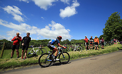 Team Wnt Pro Cycling's Hayley Jones is cut adrift at the back of the field in the SKODA Queen of the Mountains stage one at Haselbech during the Women's Tour of Britain from Daventry to Kettering.