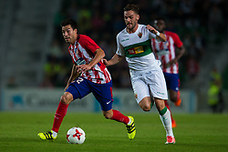 October 25, 2017 - Elche, Elche, Spain - Nico Gaitan of Atletico de Madrid L and Lolo Pla of Elche competes for the ball during the Spanish Copa del Rey (King's Cup) round of 32 first leg football match between.Elche CF and Atletico de Madrid at the Martinez Valero stadium in Elche (Credit Image: © Sergio Lopez/Pacific Press via ZUMA Wire)