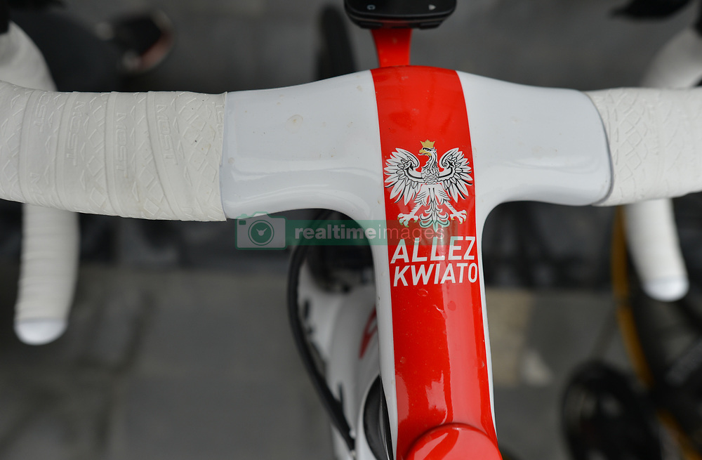 March 1, 2019 - Ajman, United Arab Emirates - Allez Kwiato ('Go Kwiato' written on Polish rider Michal Kwiatkowski bike painted in white&red Polish national colors) seen at the start line of the sixth Rak Properties Stage of UAE Tour 2019, a 180km with a start from Ajman and finish in Jebel Jais. .On Friday, March 1, 2019, in Ajman, Ajman Emirate, United Arab Emirates. (Credit Image: © Artur Widak/NurPhoto via ZUMA Press)